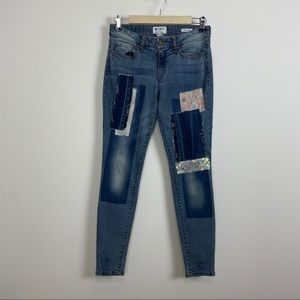 William rast patchwork perfect skinny jeans 28